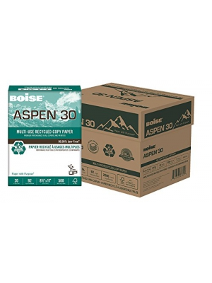 "BOISE ASPEN 30 MULTI-USE RECYCLED COPY PAPER, 8 1/2"" x 11"", Letter, 92 Bright White, 20 lb., 2500 Sheets/Junior Carton"
