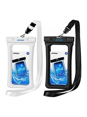 "Mpow Floating Waterproof Case, IPX8 Universal Waterproof Phone Pouch Underwater Dry Bag for iPhone X/8/8plus/7/7plus/6s/6/6s plus Samsung galaxy s9/s8 Google Pixel HTC up to 6.0"" (Black, White)"