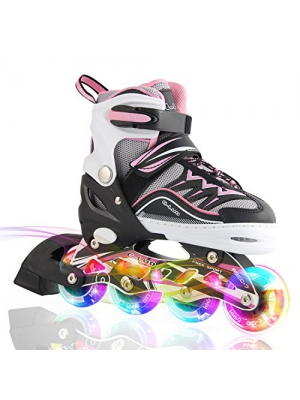 Kuxuan Girl's Cira Adjustable Kids Inline Skate with Light up Wheels