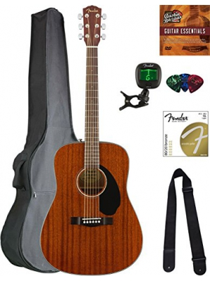 Fender CD-60S Dreadnought Acoustic Guitar - All Mahogany Bundle with Gig Bag, Tuner, Strap, Strings, Picks, Austin Bazaar Instructional DVD, and Polishing Cloth