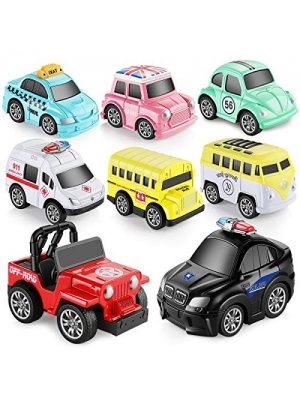 GEYIIE Pull Back Cars,8 Pack Mini Cars Set Alloy Micro Machines,Pull Back Vehicles Toy Cars for Toddlers Kids Boys Girls Gift,Upgrades