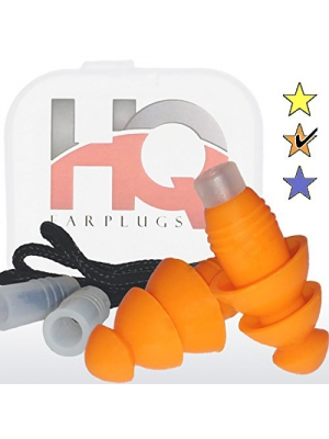 Soft Silicone Ear Plugs with Safety Cord - REUSABLE - Noise Cancelling for Shooting Work Sleep Concert Swimming and more by HQ Earplugs - NRR 25 to 29db – Waterproof – One Size Fits All (Orange)