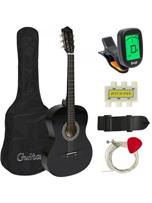 Best Choice Products Beginners 38'' Acoustic Guitar with Case, Strap, Digital E-Tuner, and Pick, (Black)