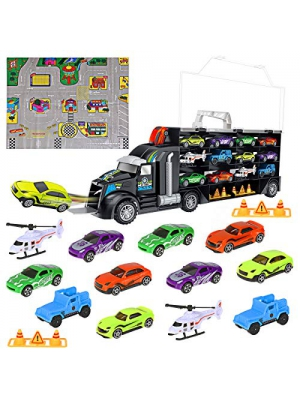 iBaseToy Toy Trucks Transport Car Carrier - Toy Cars Truck Educational Vehicles Toy Car Set Includes 12 Cars, 2 Helicopters, 28 Toy Car Slots,Great Gift for Kids, Toddlers, Children - Boys and Girls
