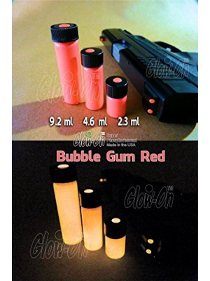 "GLOW-ON RED ""Bubble Gum Red"" Color, Super Phosphorescent Gun Sights Paint. Small 2.3 ml vial"