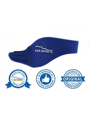 EAR BAND-IT Swimming Headband – MEDIUM (ages 4-9 yrs) – Invented by Physician – Keep Water Out, Hold Ear Plugs In – The ORIGINAL Swimmer's Headband – Doctor Recommended – Secure Earplugs