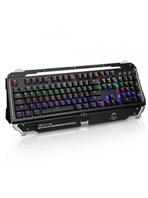 EPCTEK LED Illuminated Mechanical Wired Gaming Keyboard with RGB Blue Switch Professional with Linear Action Anti-ghosting 104 Keys crisp Water-Resistant 8 lighting modes 6 Color Backlit US layout