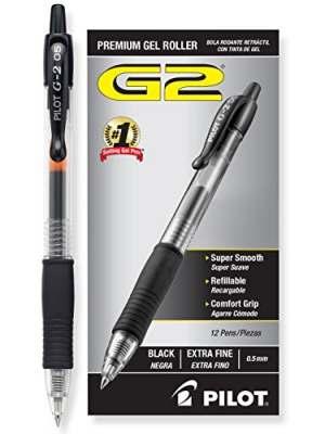 Pilot G2 Retractable Premium Gel Ink Roller Ball Pens, Extra Fine Point, Black Ink, Dozen Box (31002)