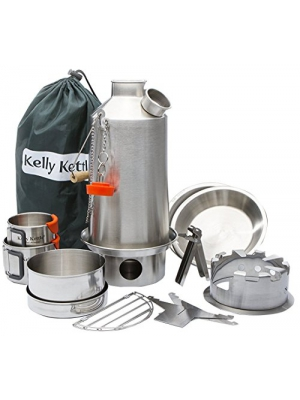 Camp Stove - Kelly Kettle: Ultimate Stainless Steel Base Camp Kit - Holds 54 oz of Water - Boils Water Within Minutes, Uses Natural Fuel, and Enables You to Rehydrate Food or Cook a Meal