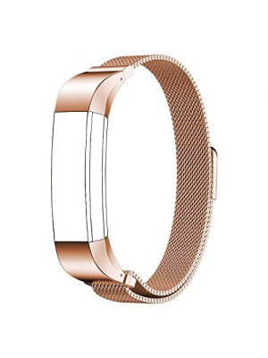 Fitbit Alta HR and Alta Band (5 - 8.5 in), PUGO TOP Magnetic Lock Milanese Loop Stainless Steel Metal Band for Fitbit Alta HR and Alta Fitness Tracker