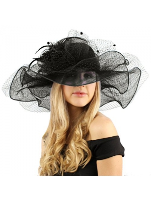 "Flirty Netted Overlay Simamay Feathers Derby Floppy 6"" Wide Brim Dress Hat"
