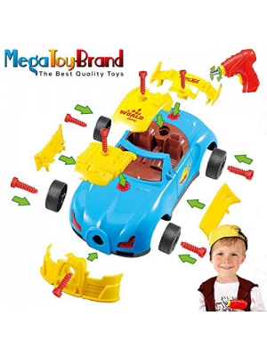 Racing Car Take Apart Building Toys - with 30 Take Apart Pieces, Electric Tool Drill, Lights and Sounds, By MegaToyBrand - Best Toys For Toys
