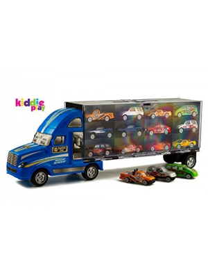 "Kiddie Play 19"" Car Transporter Carrier Truck, Loaded with Metal Toy Cars (13 Piece Set) (Blue)"
