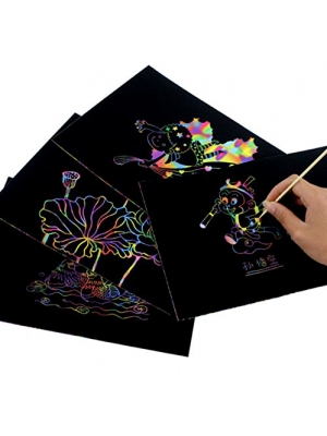 "Scratch Art Rainbow,Scratch Paper Notepad 30 Big 11"" x 8.25"" Sheets Coil-bound Together of Black Rainbow Scratch Paper for Kids Childrens Girls,Makes Art Fun With Wooden Stylus"