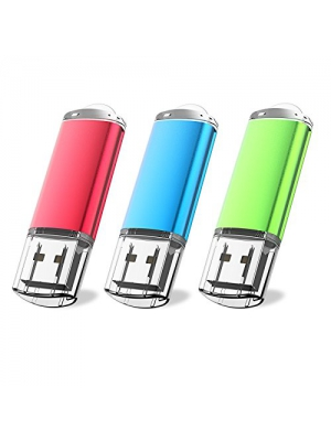 JUANWE 3 Pack 16GB USB Flash Drive USB 2.0 Thumb Drives Fold Storage Memory Stick Pen - Red/Blue/Green(16GB,3 Mixed Color)