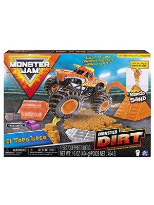 Monster Jam, El Toro Loco Monster Dirt Deluxe Set, Featuring 16oz of Monster Dirt & Official 1: 64 Scale Die-Cast Truck