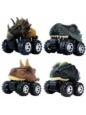 DINOBROS Pull Back Dinosaur Car Toys 4 Pack Dino Toys for 3 Year Old Boys and Toddlers T-Rex Dinosaur Games Monster Trucks