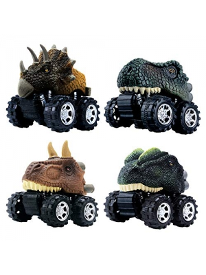 GreenKidz Pull Back Dinosaur Car Toys The Epic Dino Monster Truck Machines Dinosaurs Party Favors Games Dino Toy for 3 Year Old Boys Kids and Toddlers Mini 4 Pack Gifts Birthday Supplies T-rex