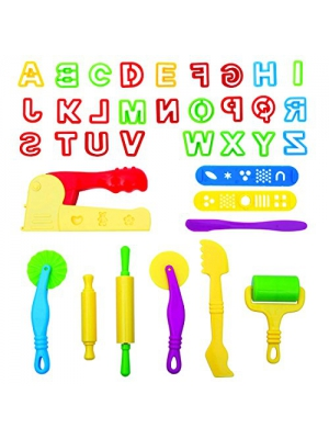 LoveS Set of 36pcs Smart Dough Tools Kit with Capital Letters and Extruder Machine, Assorted Color