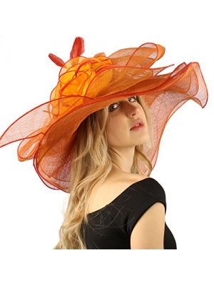 Spectacular Floral Layered Sinamay Derby Floppy Wide Brim Dressy Hat