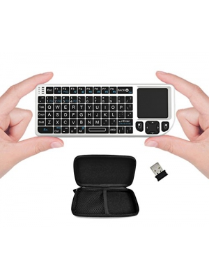 FAVI FE01 2.4GHz Wireless USB Mini Keyboard with Mouse Touchpad, Laser Pointer, Case - USA Version (Warranty) - White (FE01-WH)