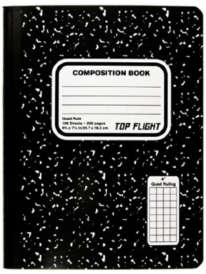 Top Flight Sewn Marble Composition Book, Black/White, Quad Rule, 4 Squares per Inch, 9.75 x 7.5 Inches, 100 Sheets (41320)