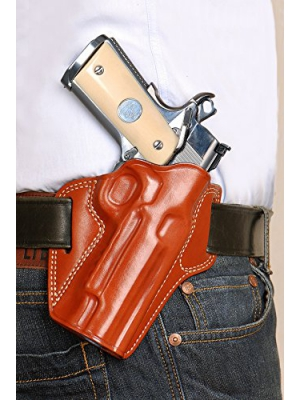 LEATHER PANCAKE OWB HOLSTER FOR 1911 COLT, KIMBER, PARA, SPRINGFIELD, SIG SAUER,RUGER, REMINGTON 1911, (RIGHT HAND DRAW-BROWN COLOR)