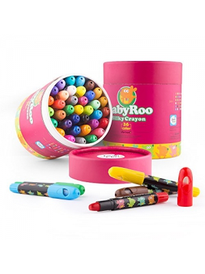 Jar Melo Silky Crayons-36 Colors Washable Rotating Non-Toxic 3 In 1 Effect(Crayon-Pastel-Watercolor); Coloring Gift for Kids; Art Tools; Twistable Slick Crayons; Big Size; Jumbo; Xmas - Christmas Gift