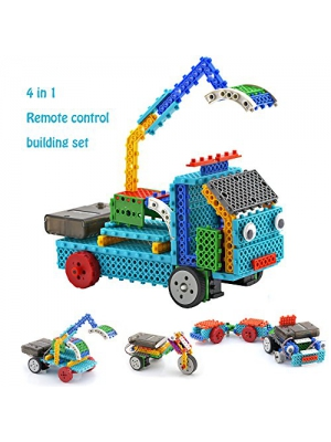Remote Control Building Kits for Kids - RC Machines Construction Set w/ 117PCS Building Blocks Build Robot Kit for Kids Your Own Remote Control Car