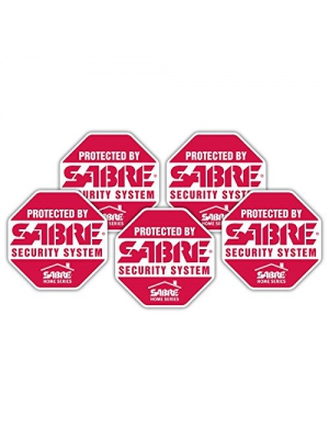 SABRE Security Signs - Home Security Decals - 5 Bright Red, Stop Sign Shaped Security Stickers