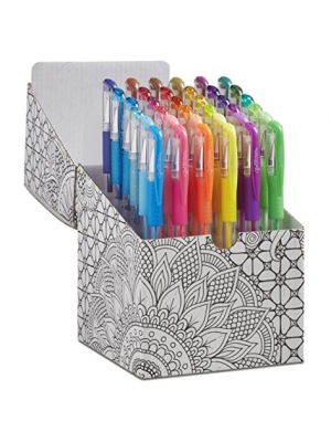 ECR4Kids GelWriter Gel Pens Set Premium Multicolor in Black and White Coloring Box (36-Count)