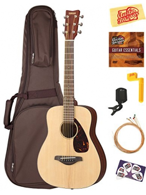 Yamaha JR2 1/2-Size Acoustic Guitar - Natural Bundle with Gig Bag, Tuner, Strings, String Winder, Picks, Austin Bazaar Instructional DVD, and Polishing Cloth