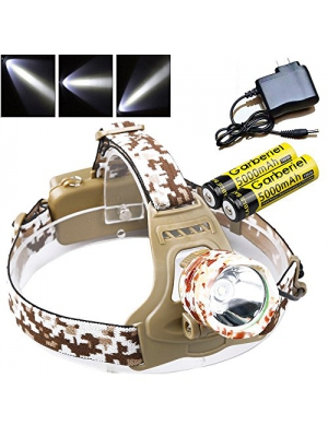 LED Headlamp 3000 Lumens Camouflage Color 18650 Waterproof Headlight 3 Modes Adjust Focus Headlamp Flashlight with 18650 Rechargeable Battery and Charger