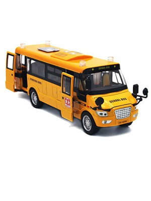 "Mallya 9"" Yellow Pull-Back School Bus Alloy Diecast Toy Vehicles ,with Lights,Sounds and Open-able Doors"