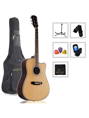 Aileen 41-Inch Full Size Spruce Cutaway Acoustic Guitar with Bag, Stand, Tuner, Picks, Strap (Natural)