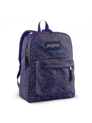 JanSport Superbreak Backpack (Black/Prism Purple Flashback Zebra)