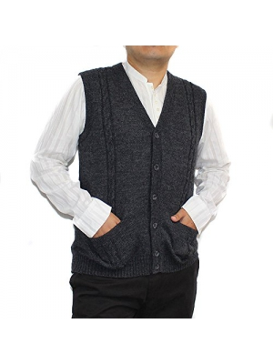 CELITAS DESIGN Alpaca Vest Sweater Jersey with BRIAD Dark Grey V neck buttons and Pockets made in Peru