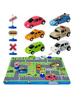 Car Toys with Play Mat, 6 Toy Cars, 3 Road Signs, 14 x 18 City Playmat, City Vehicle Set, Mini Pull Back Vehicle Toys