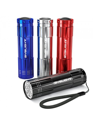 BYB Pack of 4, Super Bright 9 LED Mini Aluminum Flashlight with Lanyard, Assorted Colors, Batteries Not Included, Best Tools for Camping, Hiking, Hunting, Backpacking, Fishing, BBQ and EDC
