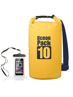 KIKAL Floating Waterproof Dry Bag Sack 10L, Protect your Items Safe, Dry, Clean for Boating, Kayaking, Beach, Fishing, Rafting, Swimming and Camping with Waterproof Phone Case