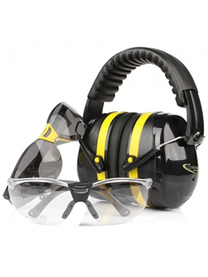 Tradesmart Shooting Earmuffs and Anti Fog, Scratch Resistant Safety Glasses Combo Pack/Kit