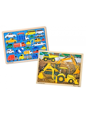 Melissa & Doug Vehicles Wooden Jigsaw Puzzles Set - Beep Beep Cars and Construction (24 pcs each)