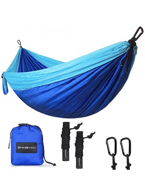 SHINE HAI Double Camping Hammock, Portable Lightweight Parachute Nylon Garden Hammock, Two Persons Bed for Backpacking, Camping, Travel, Beach, Yard, Blue/Green