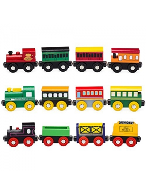 Playbees 12-Piece Wooden Train Cars Magnetic Set Includes 3 Engines, Wooden Toy Train Collection for Toddler Boys and Girls is Compatible with Most Other Name Brand Wood Train Tracks