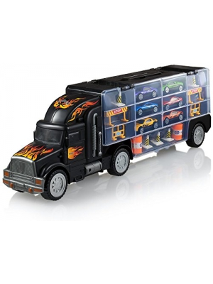 Play22 Toy Truck Transport Car Carrier - Toy Truck Includes 6 Toy Cars and Accessories - Toy Trucks Fits 28 Toy Car Slots - Great car Toys Gift for Boys and Girls - Original