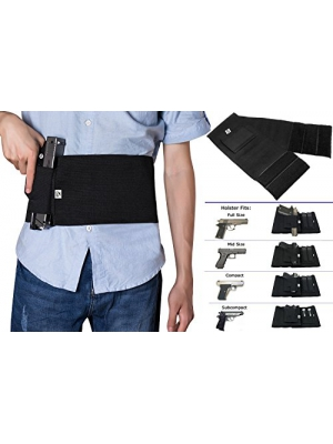 GVN Adjustable Elastic Concealment Belly Band Holster Tactical Abdominal Belt Holster for Concealed Carry With Dual Magazine Pouches Fits Glock, Ruger LCP, M&P, Sig Sauer, Ruger, Kahr, Beretta, 1911
