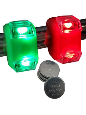 Bright Eyes Green & Red Portable Marine LED Boating Lights - Boat Bow or Stern Safety Lights - Waterproof