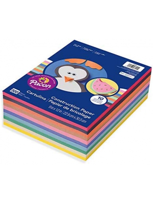 "Pacon Lightweight Super Value Construction Paper P6555, 9"" x 12"", 10 Assorted Colors, 500 Sheets"