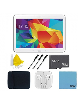 "Samsung Galaxy Tab 4 White 16GB 10.1"" Tablet, 32GB Card, and Case Bundle - Includes tablet, 32 GB Micro SD Memory Card, 10"" Sleeve for Tablets, Audio Earbuds with Microphone, 3 Stylus Pens with Pocket Clip, and 3pc. Lens Cleaning Kit"