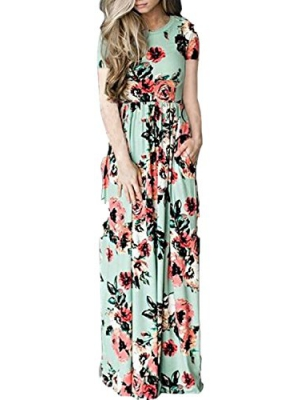 VOKY Women's Short Sleeve Printing Dress Round Neck Boho Plus Size Long Maxi Dress for Beach Party (by